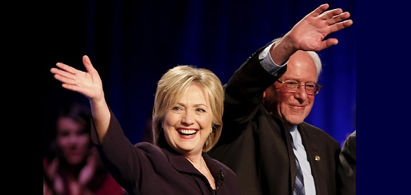 Democrats Hillary Clinton and Bernie Sanders