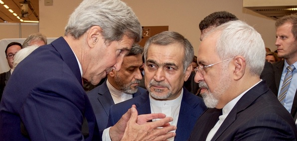 Kerry with Hossein Fereydoun and Mohammad Javad Zarif during the announcement of the Joint Comprehensive Plan of Action, July 14, 2015 (State Department photo)
