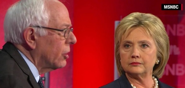 Bernie Sanders and Hillary Clinton at Democratic Party debate