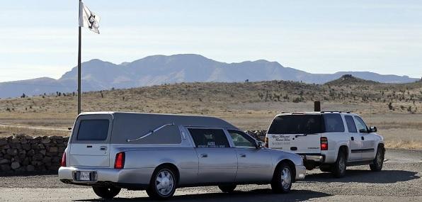 Hearse removing body of Justice Antonin Scalia