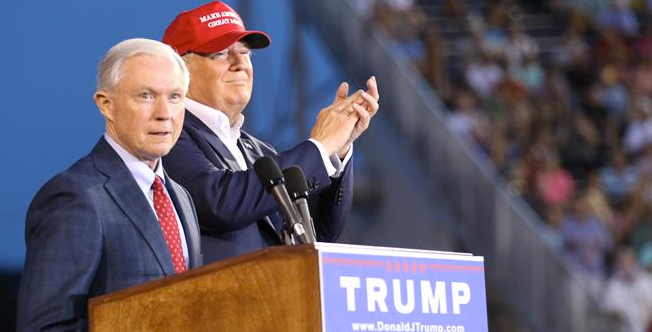 Then-Sen. Jeff Sessions, left, with then-candidate Donald Trump, whom he endorsed for president