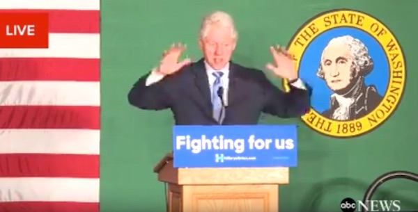 "Former President Bill Clinton tells an audience in Spokane, Washington, about the ""awful legacy"" of the Obama administration"