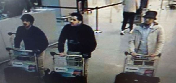 CCTV image of three suspected jihadists in Brussels airport bombing March 22, 2016