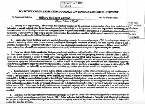 A screenshot of Hillary Clinton's Non-Disclosure Agreement obtained by the Washington Free Beacon