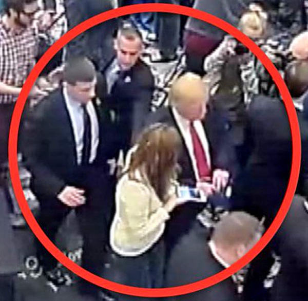 Close-up image of security footage shows Trump campaign manager Corey Lewandowski reaching for Breitbart reporter Michelle Fields