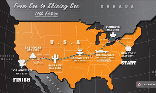 The Gumball 3000 route for the year 2012 went from coast to coast across the United States. This map was published on the official Gumball website