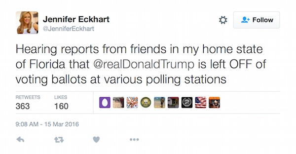 Fox Business producer Jennifer Eckhart told her Twitter followers that Donald Trump's name was being left off the ballot at some polling stations