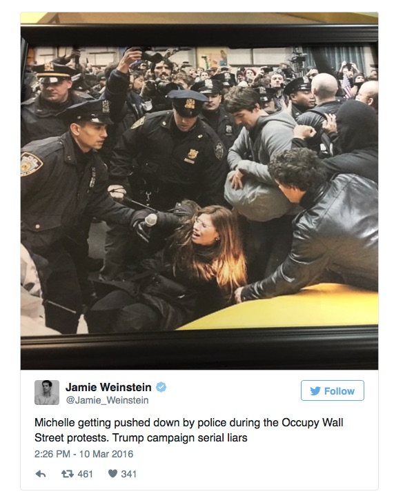 MICHELLE FIELDS jamie weinstein TWEET on NYPD and OCCUPY WALL STREET PROTESTS