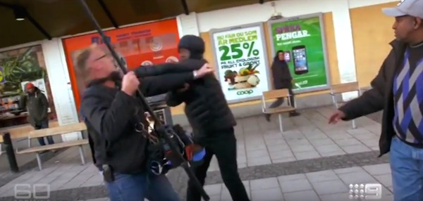 "A ""60 Minutes"" Australia crew is attack in Stockholm, Sweden (Photo: Channel 9 Australia screenshot)"