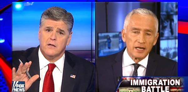 Sean Hannity debates Univision's Jorge Ramos on illegal immigration (Photo: Fox News screenshot)