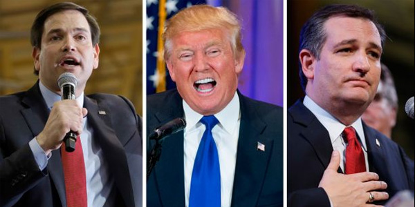 GOP presidential candidates Marco Rubio, Donald Trump and Ted Cruz (Photo: Twitter)