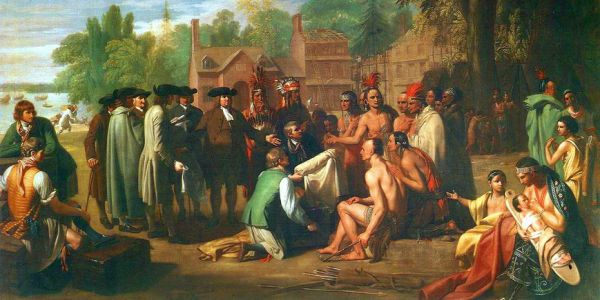 William Penn's 1682 treaty with the Lenape; painting by Benjamin West 1771