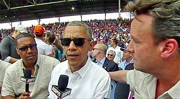 President Obama at a baseball game.