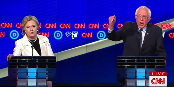 Democratic presidential candidates Hillary Clinton and Sen. Bernie Sanders, I-Vt., debate in 2016
