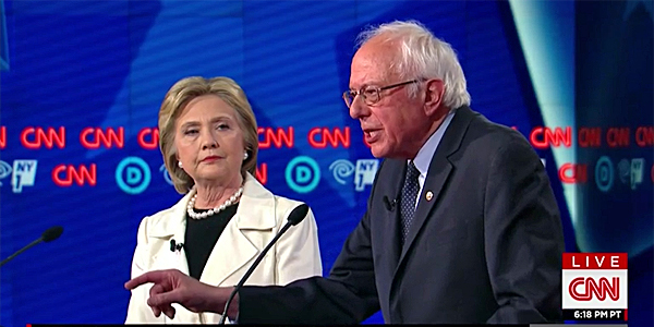 Then-Democratic Party candidates Hillary Clinton and Bernie Sanders at the April 14 debate in Brooklyn, New York (Photo: CNN screenshot)