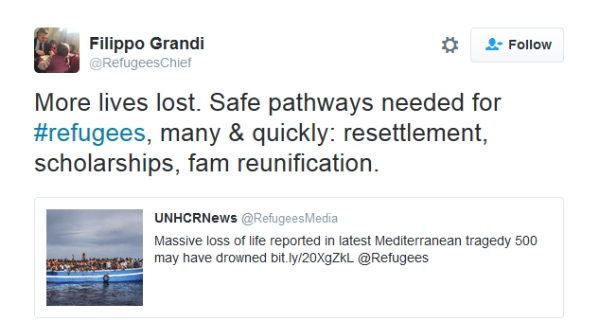 Filipo Grande tweet on safe pathways for refugees