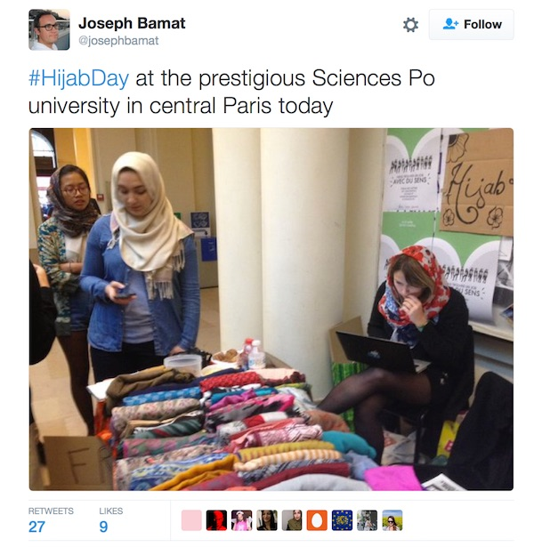 "France 24 journalist Joseph Bamat shares a photo from ""Hijab Day"" at the elite university Sciences Po"