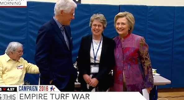 Hillary Clinton smiles for reporters before casting her vote in Grafflin Elementary School in Chappaqua, New York (Photo: CBS News screenshot)