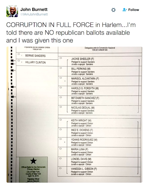 Television and radio contributor John Burnett tweeted Tuesday that his polling location in Harlem had zero Republican ballots