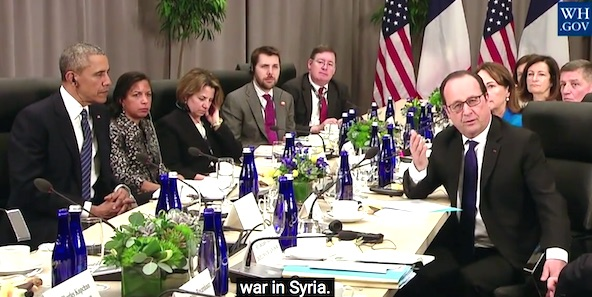 President Obama listens as French President Francois Hollande discusses Islamic terrorism (Photo: YouTube, White House)