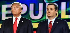 Republican candidates Donald Trump and Ted Cruz