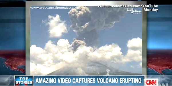 Mexico's Popocatepetl volcano covered the city of Puebla in white dust on Monday, April 18, 2015 (Photo: CNN screenshot)