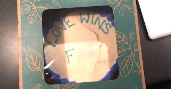 "A homosexual pastor from Austin, Texas, claims a baker at Whole Foods added a slur to his ""Love Wins"" cake. The company denies the allegation and plans on filing a counter-lawsuit (Photo: KXAN-6 screenshot)"