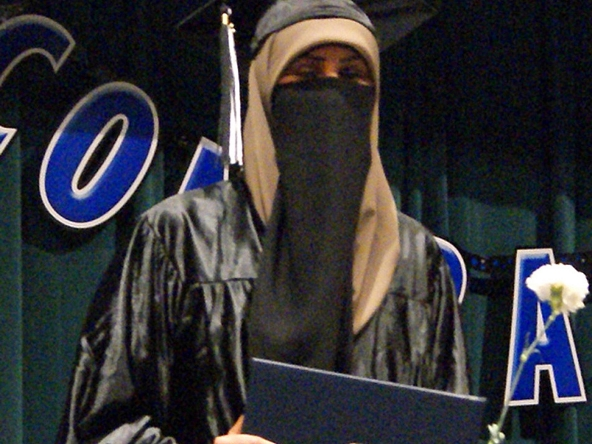 Yusra Ismail, another Somali Muslim living in Minnesota who attended al-Farooq mosque, known for its radical teachings. She is shown here at her high school graduation in 2013. She later left Minnesota to join ISIS.