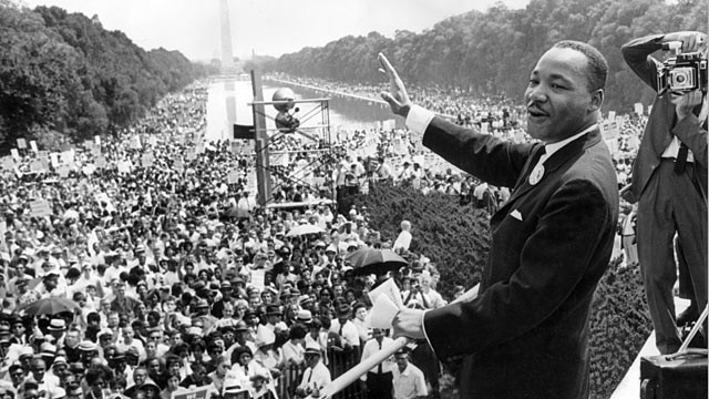 "Martin Luther King, Jr., at the Lincoln Memorial, delifering his ""I Have a Dream"" speech on Aug. 23, 1963"
