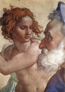 Detail from The Prophet Ezekiel, Sistine Chapel by Michelangelo