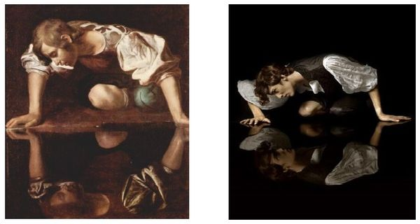 'Narcissus' by Caravaggio, and real-life replica; images from a study at University of Dayton in 2014