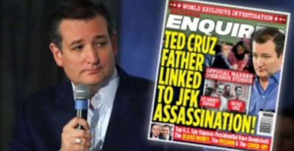 Sen. Ted Cruz holds a controversial copy of the National Enquirer.