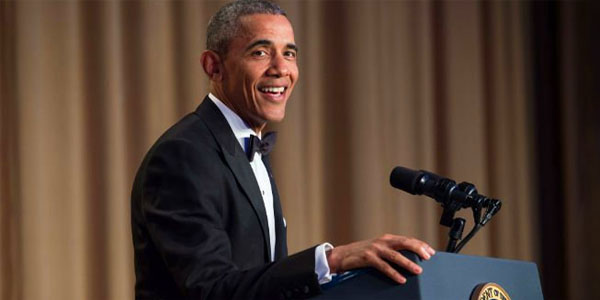 President Obama at his last White House Correspondents' Association dinner in 2016 (Photo: Twitter)