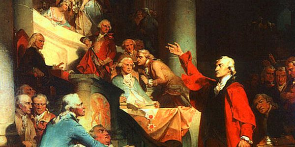 """Patrick Henry's """"Treason"""" speech before the House of BurgessesExcerpt of painting by Peter F. Rothermel, 1851"""