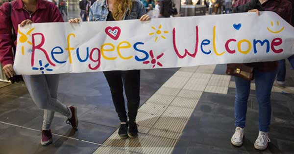Refugees Welcome protesters in Germany.