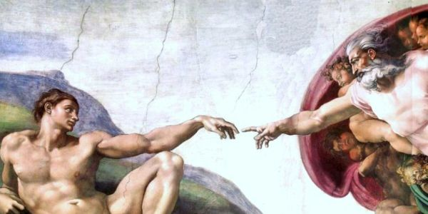'Creation of Adam' in Sistine Chapel, by Michelangelo