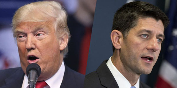 GOP presidential nominee Donald Trump and House Speaker Paul Ryan, R-Wisc.