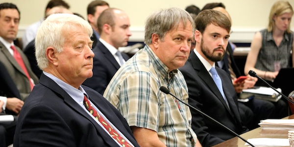 Law-abiding citizens, including Maryland farmer Calvin Taylor (far left), who became victims of IRS abuse testify before members of the Oversight Subcommittee.