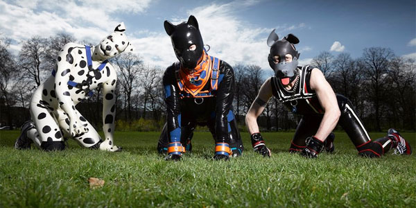 "Man-dogs ""Spot,"" ""Hexyc"" and ""Tibo"" (Photo: Richard Ansett/Channel 4 )"