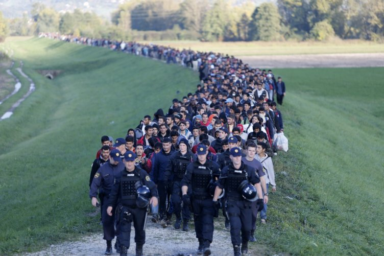 Muslim migrants head out of Slovenia toward Europe. More than 1.3 million made their way to the wealthy welfare state of Germany, welcomed by the government of Chancellor Angela Merkel.