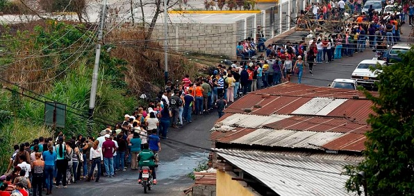 Food lines in Venezuela stretch long and far.