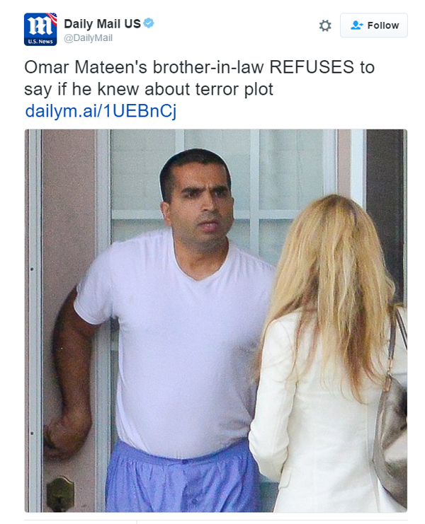 Daily Mail confronts Orlando terrorist Omar Mateen's brother-in-law on June 17