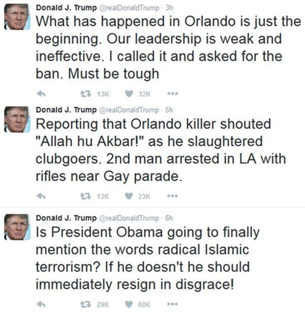 Donald Trump reaction to Orlando shootings 6-12-16