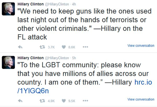 Hillary Clinton reaction to Orlando shootings 6-12-16
