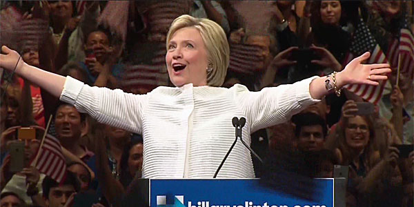 Hillary Clinton gives victory speech upon clinching Democratic Party nomination on June 7 (Photo: Twitter)