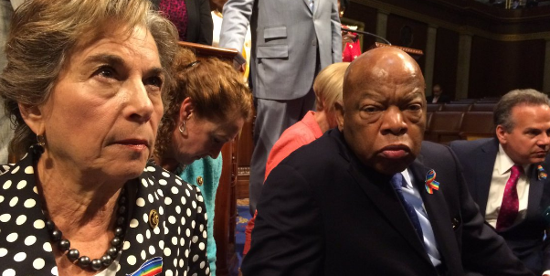 Rep. Jan Schakowsky joined Rep. John Lewis for a sit-in on the House floor. (Credit: twitter)