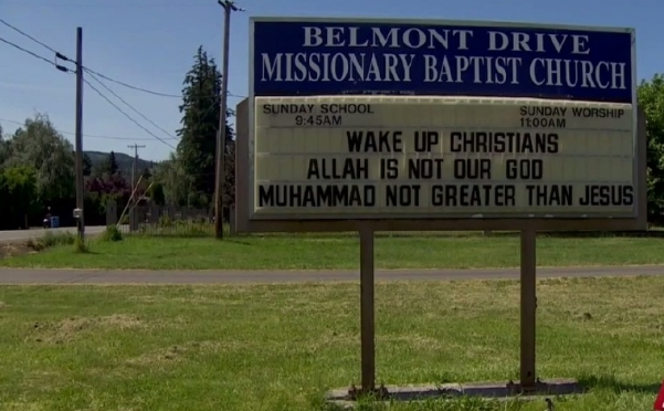 Belmont Drive Missionary Baptist sign in Hood River, Oregon.