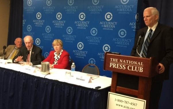 Charles Woods, the father of slain Navy SEAL Tyrone Woods, speaks at a news conference in Washington June 29, 2016, with the Citizens' Committee on Benghazi. From left to right is retired Adm. James Lyons, retired Lt. Gen. Thomas McInerney and Clare Lopez, a former CIA officer and current VP of the Center for Security Policy (WND photo)