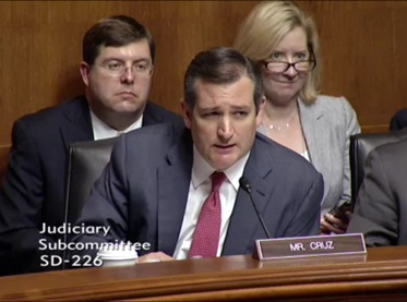 Sen. Ted Cruz, R-Texas, chairs Senate hearing June 28, 2016 (Screenshot Senate Judiciary Committee video).