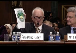 Former Department of Homeland Security officer Philip Haney at Senate hearing June 28, 2016 (Screenshot Senate Judiciary Committee video).